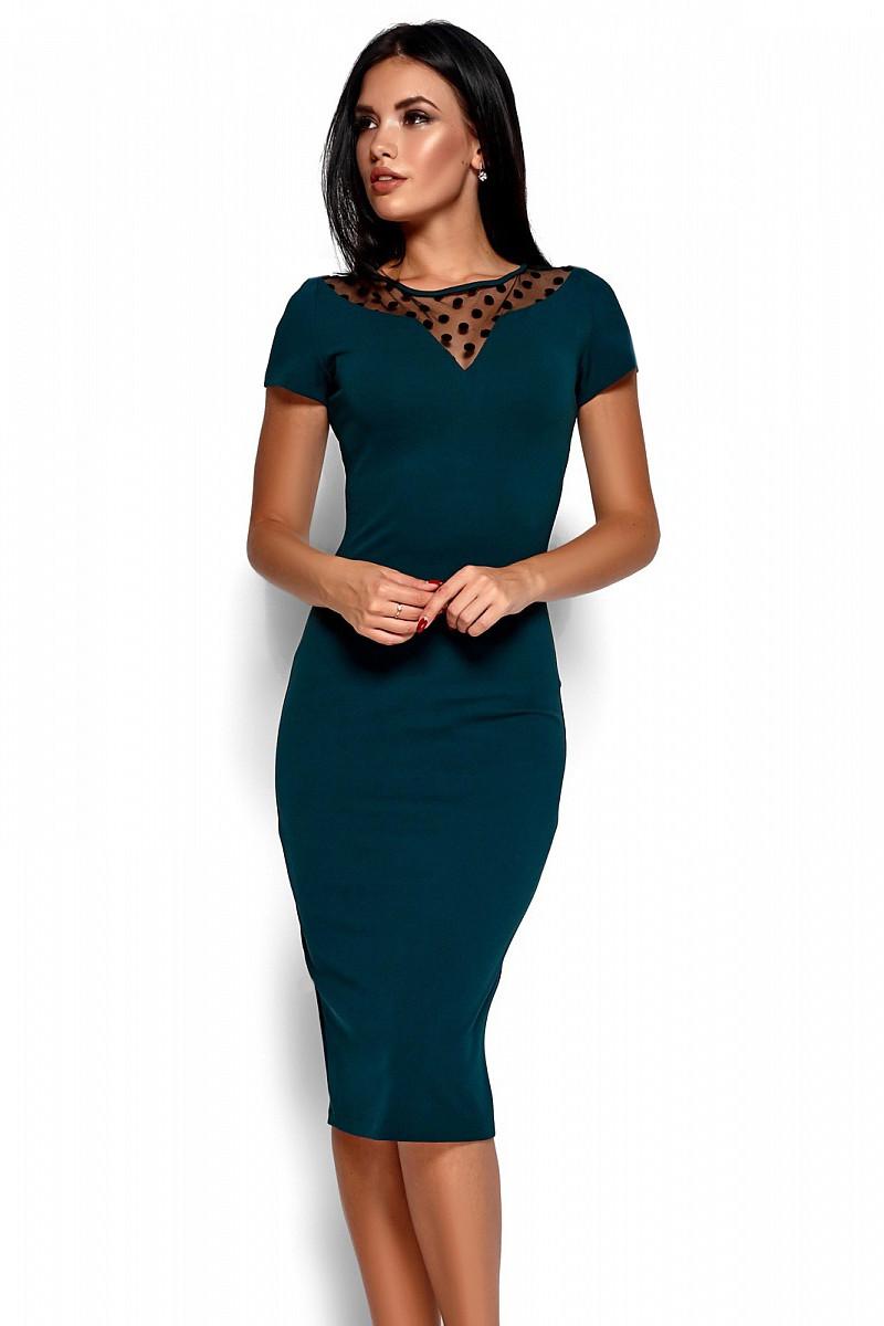 S, M, L, XL / Облягаюче класичне плаття Valia, темно-зелений