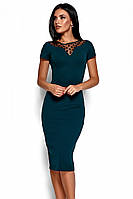 M, L | Облягаюче класичне плаття Valia, темно-зелений
