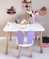Детский стол и стул (деревянный стульчик зайка и прямоугольный стол)