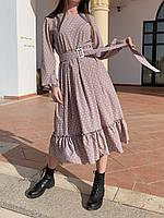 Платье в горошек пастельное с поясом, Песочный (2813)