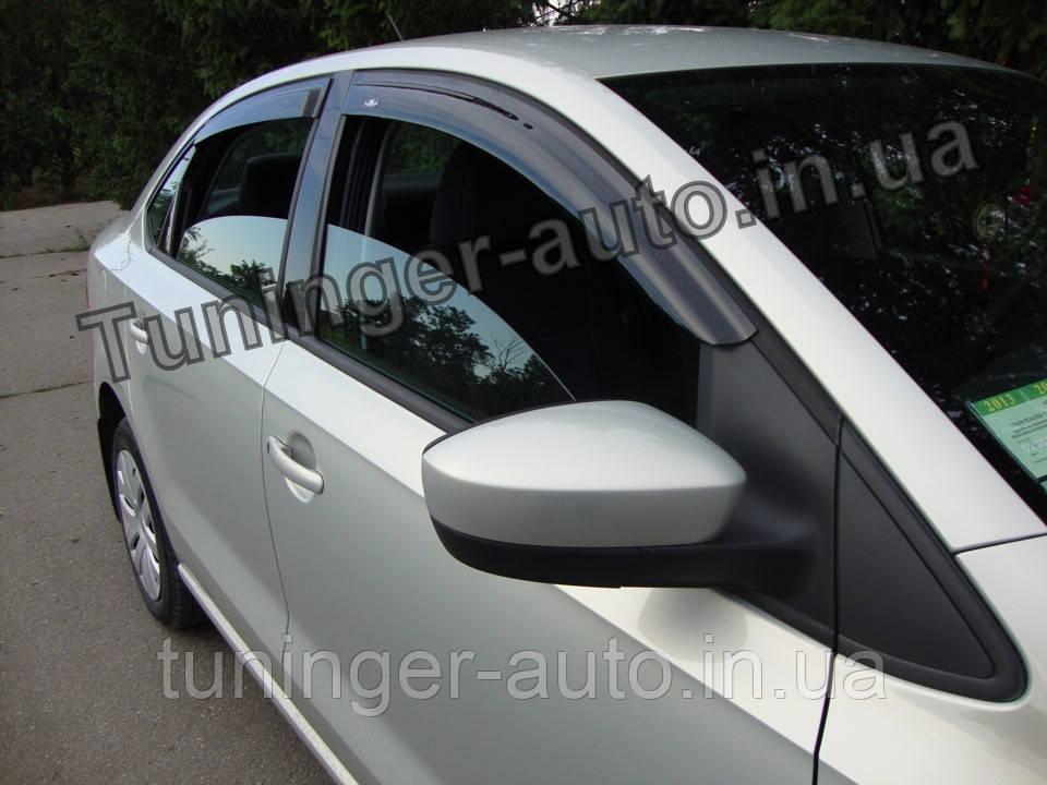 Ветровики, дефлекторы окон Volkswagen Polo Sedan 2010-2017 (Hic)