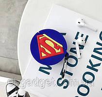 Чехол футляр для наушников AirPods Супермен силиконовый