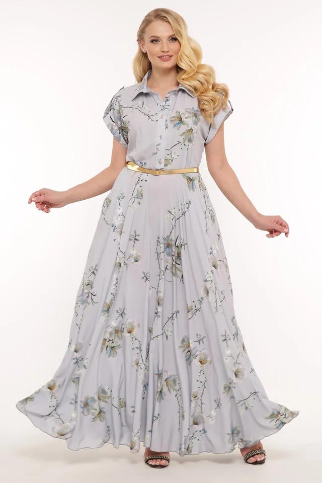 Длинное женское красивое  платье Алена пепельная(48-56)