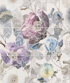 Панно Kerama Marazzi 60х50х8 60х50 Линьяно Цветы, 3 части 20х50 (размер каждой части) (ALD\A36\3x\7071T)