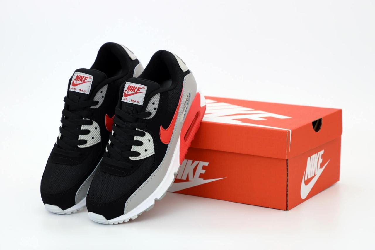 Кроссовки Nike Air Max 90 Black Grey (Найк Аир Макс 90 черно-серые мужские)
