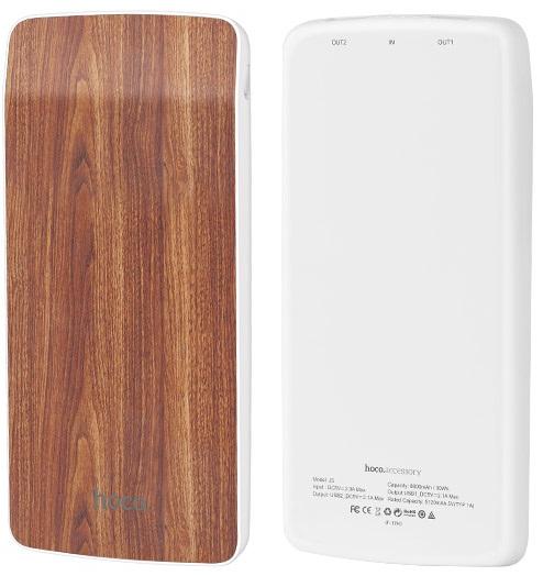 Внешний аккумулятор Hoco J5 Wooden | 8000 mAh | Power Bank | Красный Дуб