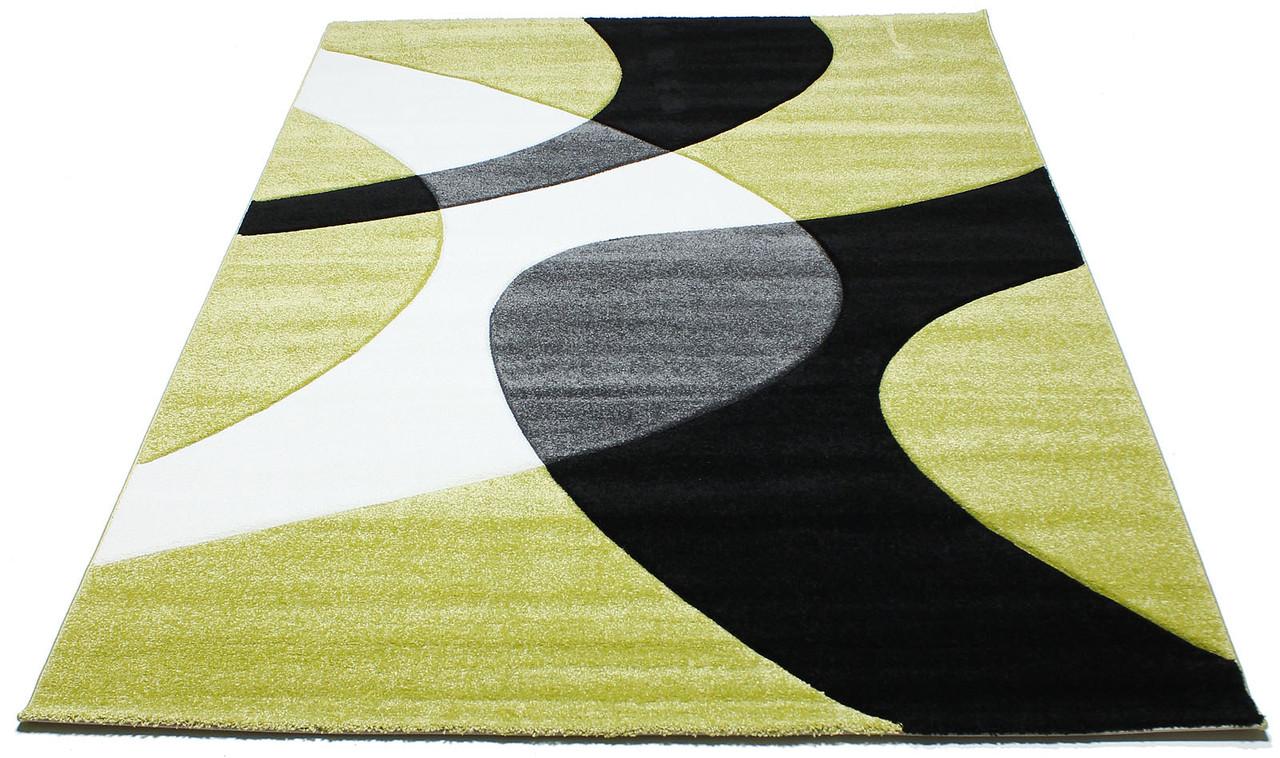 Коврик современный CALIFORNIA 0289 0,8Х1,5 Зеленый прямоугольник