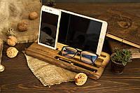 Мужской органайзер на рабочий стол для телефона, планшета из дерева «Настольный органайзер»
