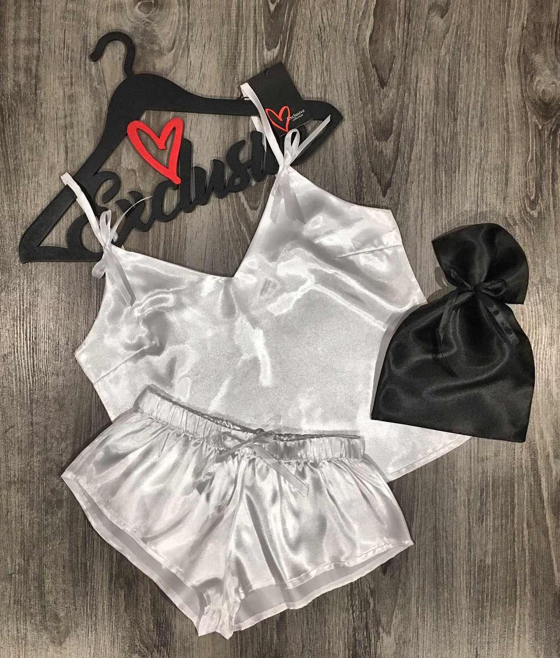 Пижама атласная майка+шорты+мешочек для упаковки.