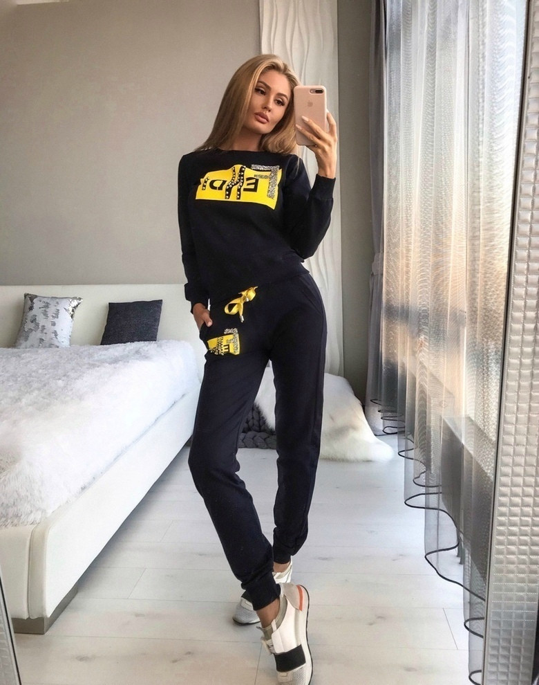 Женский спортивный костюм Fendi из двунити с лампасами S, M, L, XL, XXL