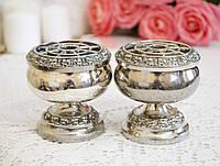 Парные посеребренные фрог вазы, вазочки, роуз-боул, серебрение, Англия, винтаж, фото 1
