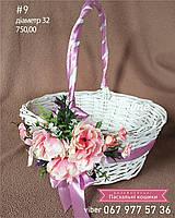 Пасхальная корзинка с белой лозы с цветочным декором круглая
