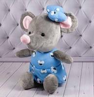 Мышка поздравительная 1/4 голубая (00255-8)