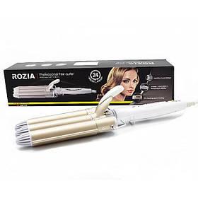 Тройная Плойка для волос Rozia HR 722 Gold