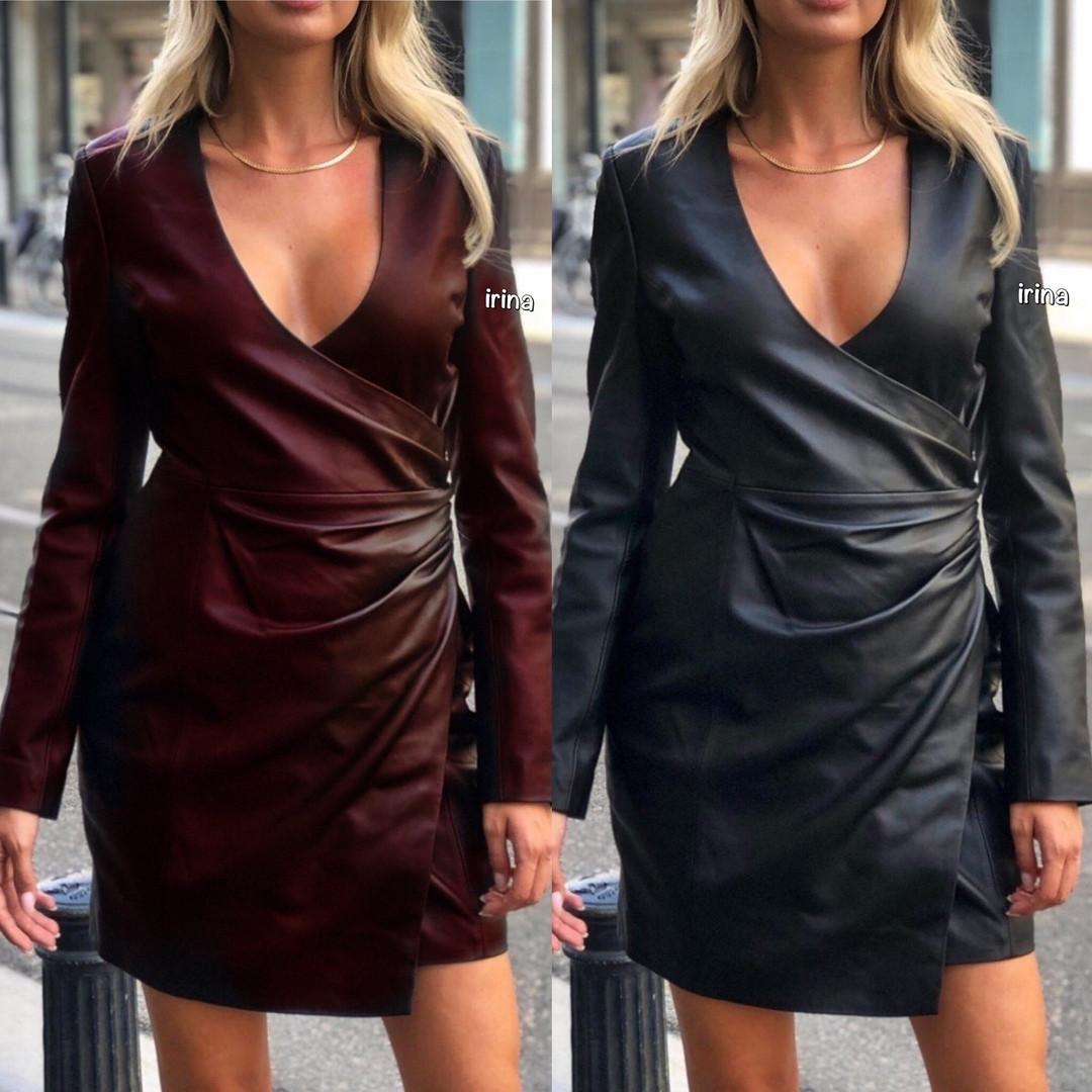 Платье женское повседневное, короткое, модное, эко кожа, на запах, стильное, черное, офисное, облегающее