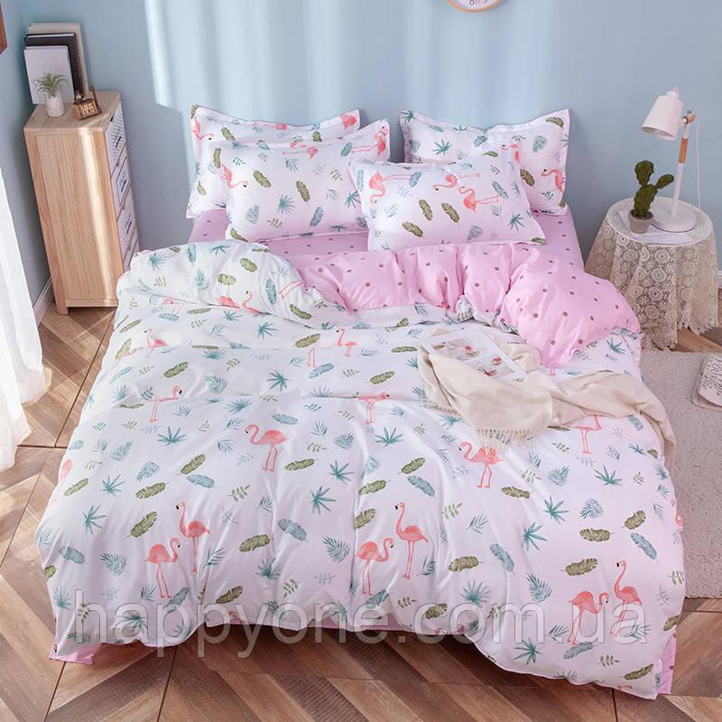 """Комплект постельного белья """"Фламинго и листья"""" (двуспальный-евро)"""
