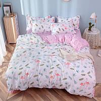 """Комплект постельного белья """"Фламинго и листья"""" (двуспальный-евро), фото 1"""