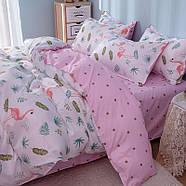 """Комплект постельного белья """"Фламинго и листья"""" (двуспальный-евро), фото 3"""