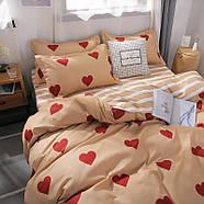 """Комплект постільної білизни """"Червоні сердечка"""" (двоспальний євро), фото 3"""