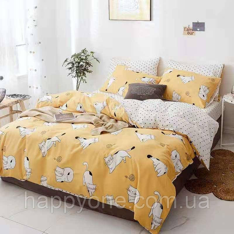 """Комплект постельного белья """"Играющий котенок"""" (двуспальный-евро)"""