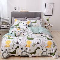 """Комплект постельного белья """"Динозавры и вулкан"""" с простыней на резинке (двуспальный-евро)"""