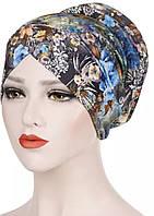 Модная чалма с принтом голубые цветы