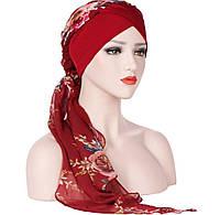 Чалма шапка  разноцветная шифоновая на повязке красная