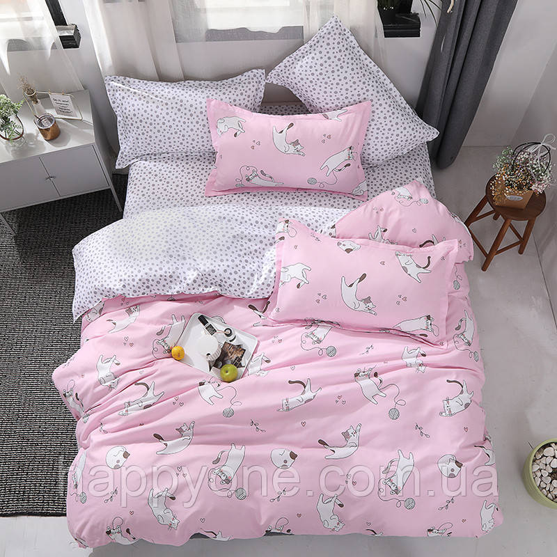 """Комплект постельного белья """"Котенок и клубок"""" розовый (двуспальный-евро)"""