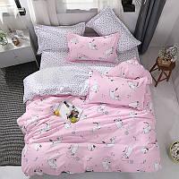 """Комплект постельного белья """"Котенок и клубок"""" розовый (двуспальный-евро), фото 1"""