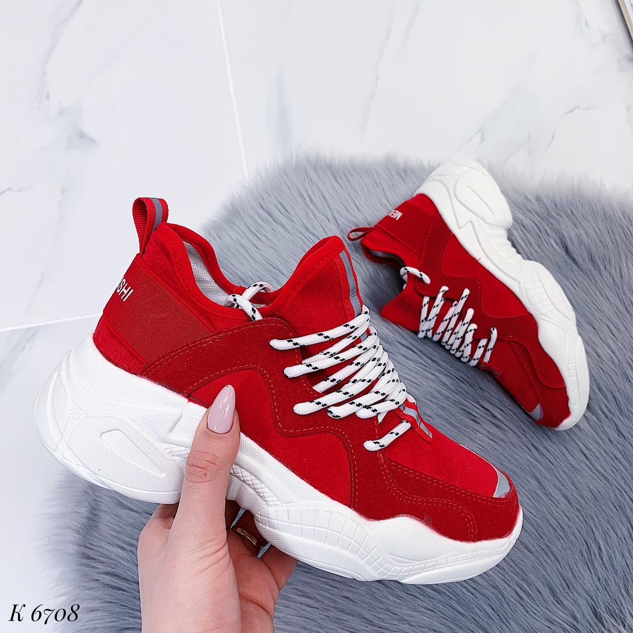 Женские стильные кроссовки красные эко-замш