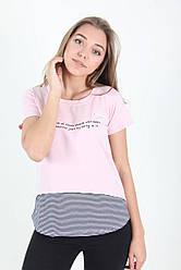 Комбинированная летняя футболка с округлым вырезом горловины