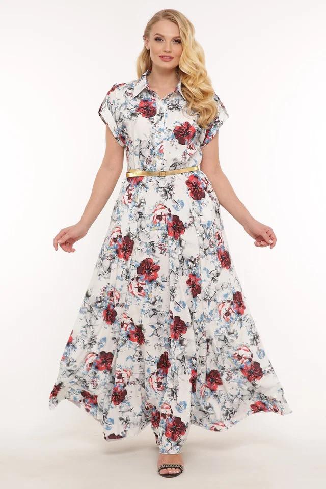 Длинное женское красивое  платье Алена белое(48-56)