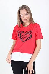 Женская комбинированная футболка «Сердце» с разрезами