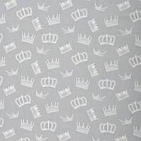✁ Отрез хлопковой ткани Короны на сером 100х80 см