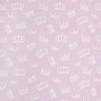 ✁ Отрез хлопковой ткани Короны на розовом 100х80 см