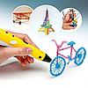 3D ручка 2 pen синяя. 3D-Ручки для детского творчества. 3D ручка для рисования, фото 9