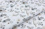 """Лоскут ткани """"Воробьи и анемоны"""" серо-бежевые на белом  № 1975а, размер 44*80 см, фото 3"""