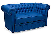 Диван Честер нераскладной экокожа синий
