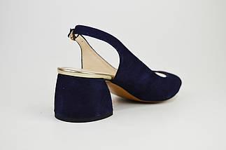 Босоножки на каблуке Marco 1506 Синие замша, фото 3