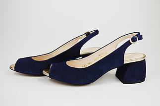 Босоножки на каблуке Marco 1506 Синие замша, фото 2