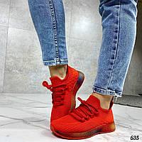Кроссовки женские текстильные. Женские красные кроссовки, внутри текстильная подкладка. Кросівки жіночі
