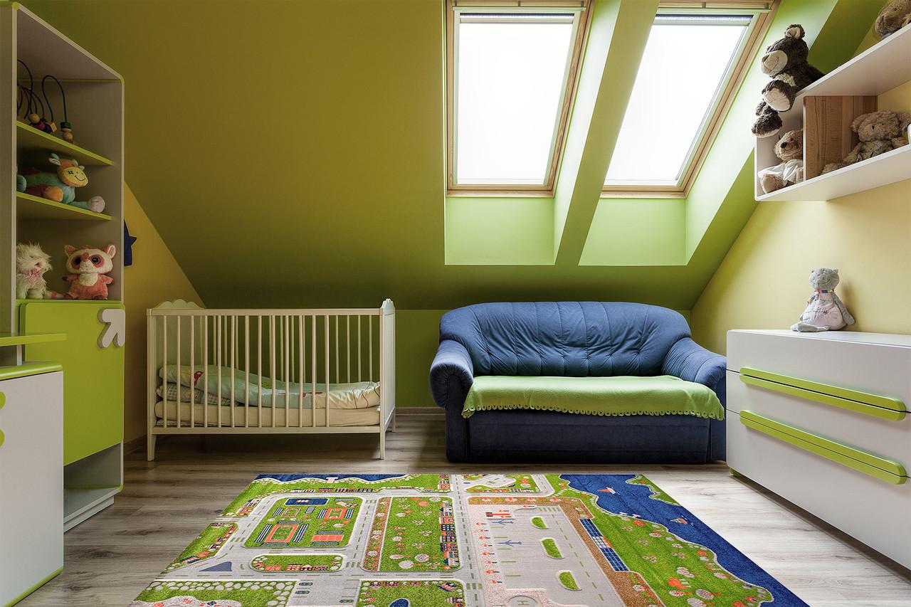 Ковер детские FULYA 8F86a 2,4Х3,4 Зеленый прямоугольник