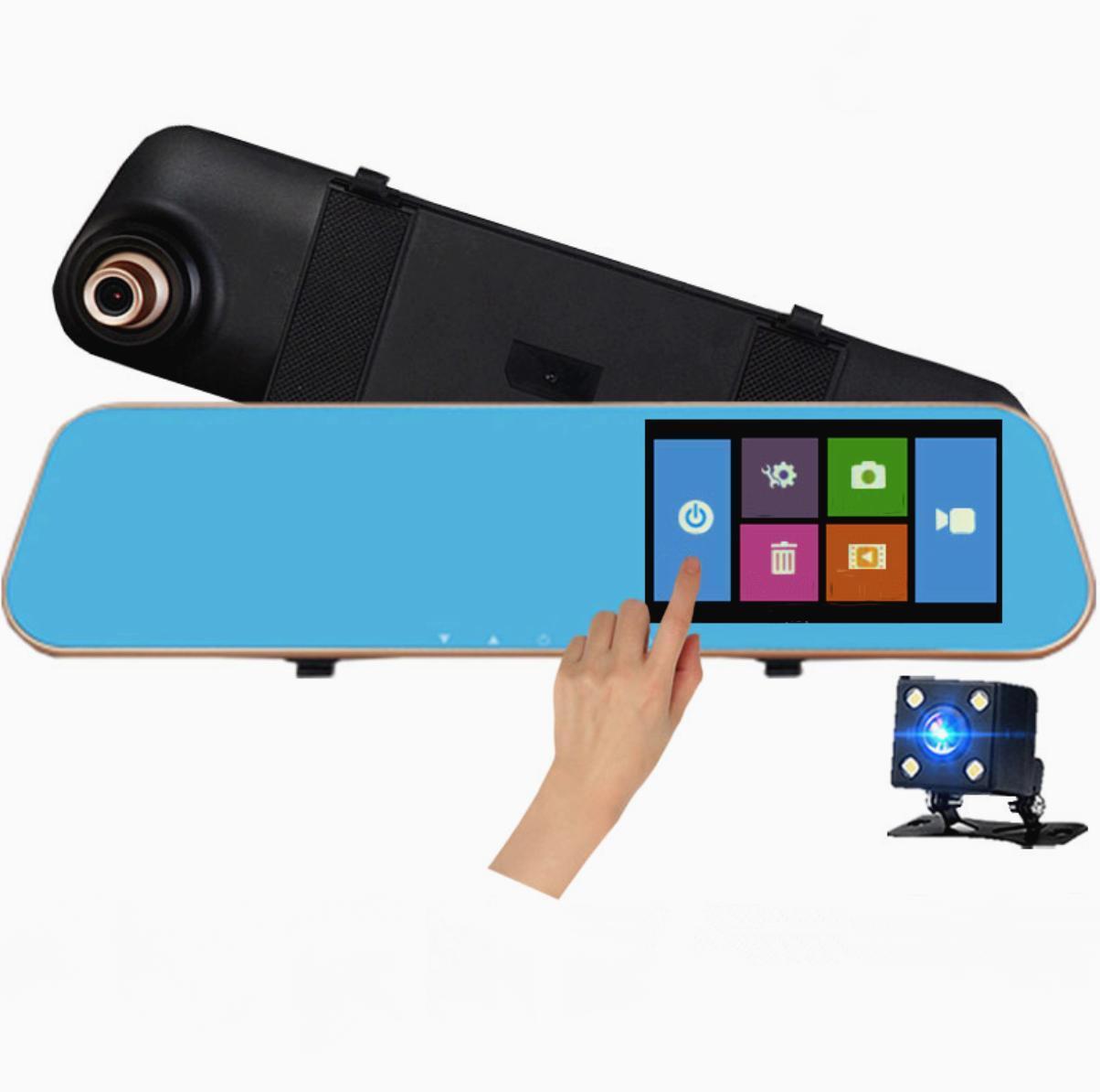 """Дзеркало-відеореєстратор 4.3"""" DVR L502 full hd (автореєстратор з виносною камерою заднього виду)+ПОДАРУНОК!"""