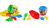 """Песочный набор игрушек """"Кораблик-3 ТехноК"""" Красный"""
