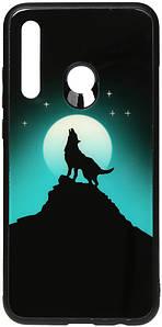 Чехол накладка для Huawei P Smart Plus 2019 светящийся со стеклянной поверхностью, Волк