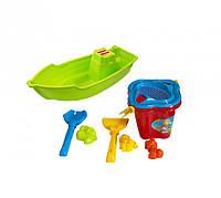 Лодочка с песочным набором (ведерко, пасочки, инструменты, лодка) Оранжевый