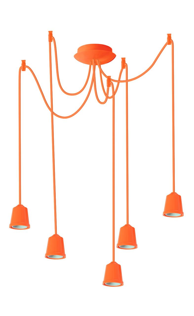 ERKA подвес для подвесного светильника 5х60W, Е27 оранжевый 2м