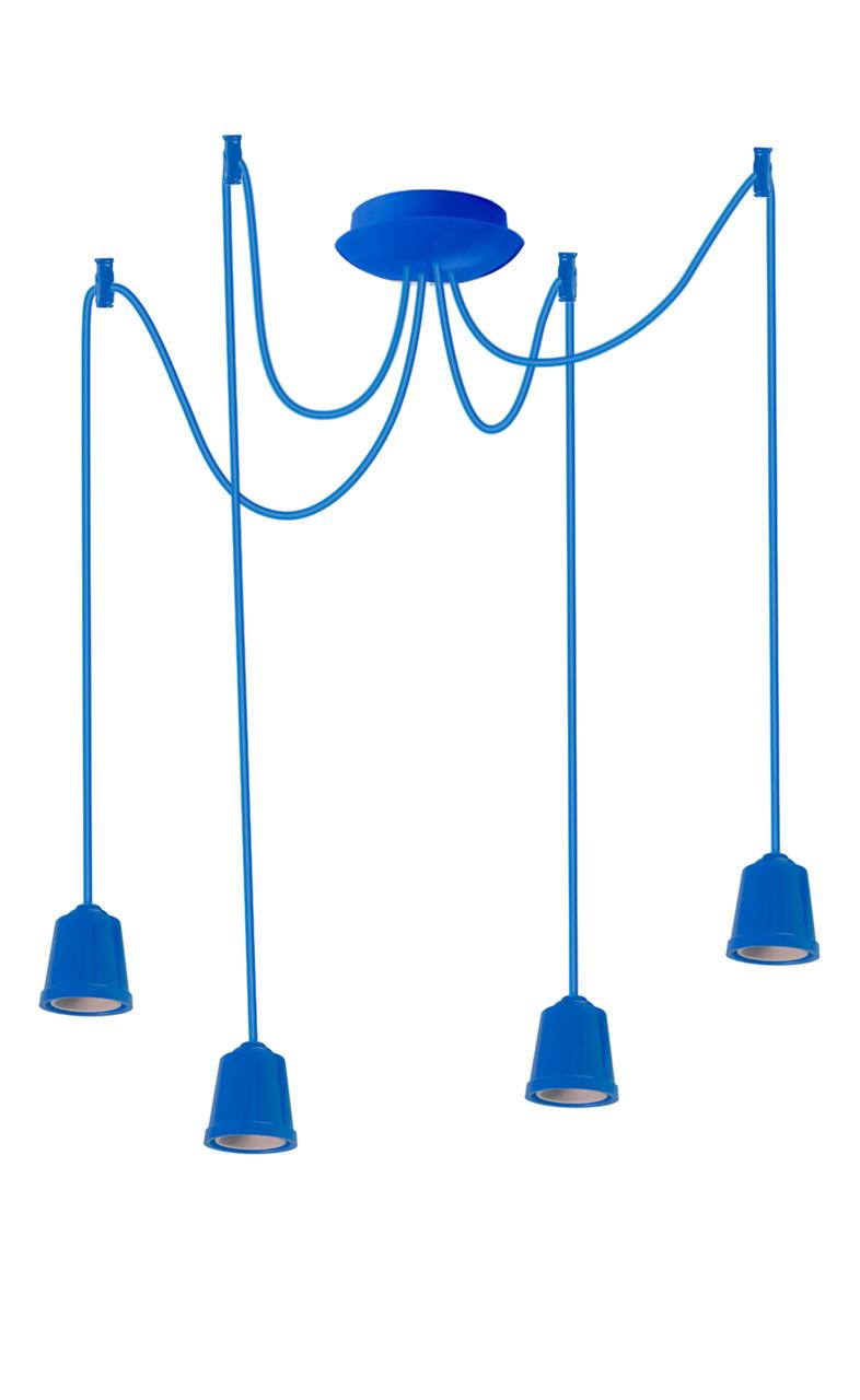 ERKA подвес для подвесного светильника 4х60W, Е27 синий 2м