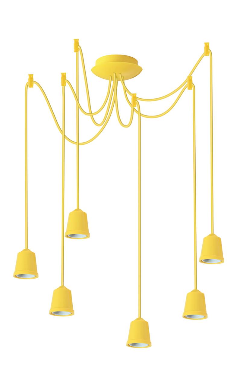 ERKA подвес для подвесного светильника 6х60W, Е27 желтый 2м