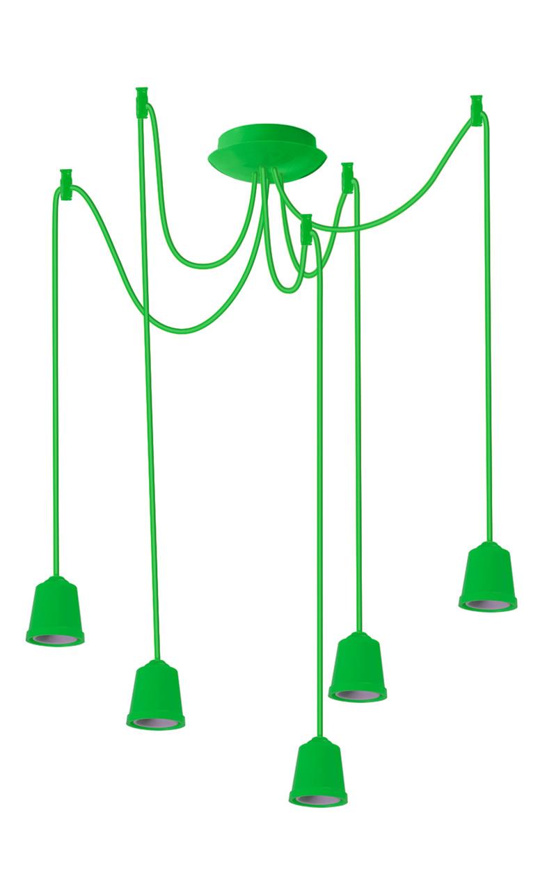 ERKA підвіс для підвісного світильника 5х60W, Е27 салатовий 2м